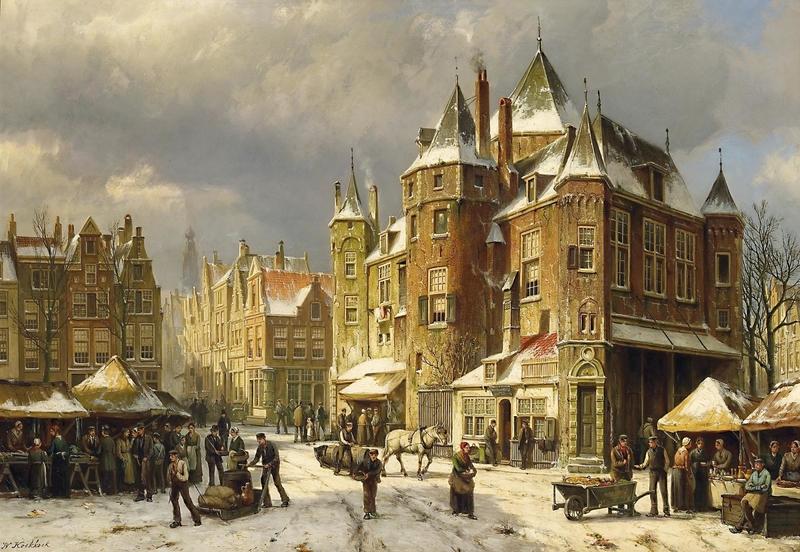 markttreiben-in-den-verschneiten-strasen-einer-hollandischen-stadt-willem-koekkoek